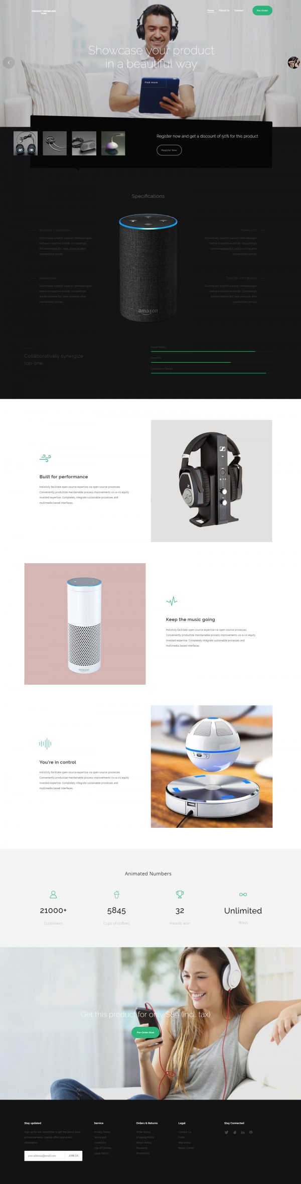 Product showcase website template