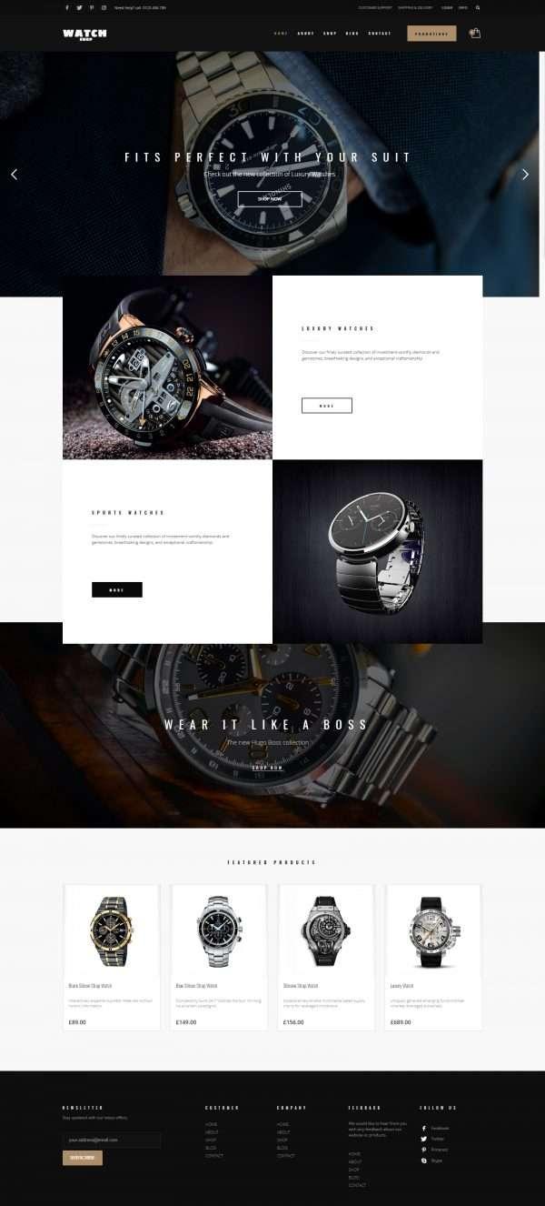 watch shop website template